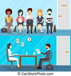 Business people waiting for job interview. Vector...