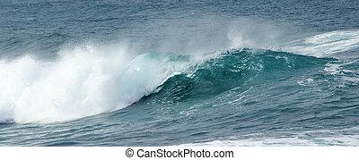 breaking ocean waves - powerful ocean waves breaking by the...