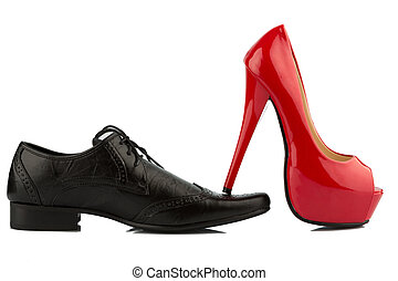 red high heels and men's shoe - ladies shoe on men's shoe,...