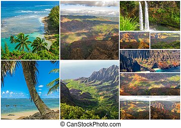 Kauai aerial view collage - Hawaii pictures collage of...