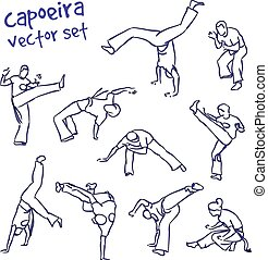 vector capoeira set - Contour silhouettes capoeira fighting....