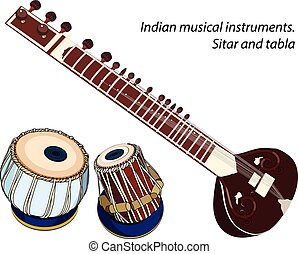 Indian musical instruments - sitar and tabla - indian...