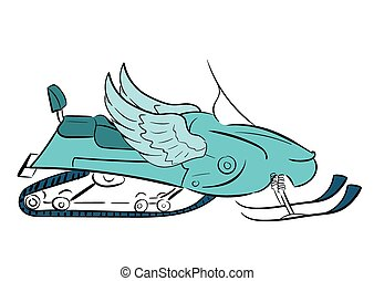 Conceptual winged snowmobile - Conceptual illustration with...