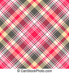 Seamless pink-gray tartan pattern - Seamless gentle...