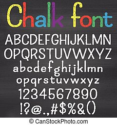 Hand drawn font on chalk background. Alphabet, numbers,...