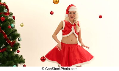 Pretty Young Girl Dressed As Santa Posing For Camera - In...
