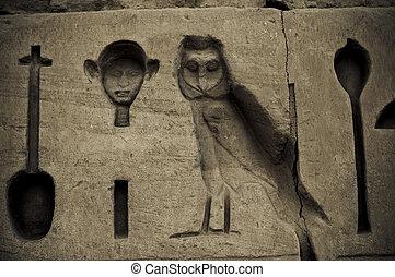 Hieroglyphic writing at Temple of Amun, Karnak, Egypt.