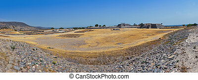 Aerial view of Tula Pyramid, Mexico - Aerial view of Pyramid...