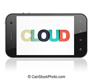 Cloud computing concept: Smartphone with Cloud on  display