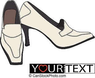 Female shoes on a white background