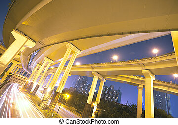 Megacity Highway at night with light trails in shanghai...