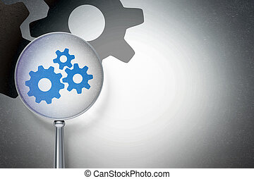 Advertising concept:  Gears with optical glass on digital background