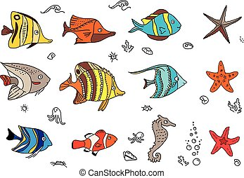 Set with coral fishes.
