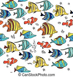 Simple seamless pattern with coral fishes. Endless texture