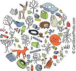 Pollution of the environment. Garbage and waste in forests,...