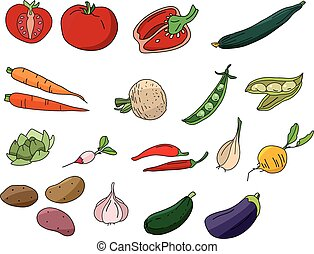Different vegetables isolated on white.