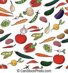 Seamless pattern with different fresh vegetables.