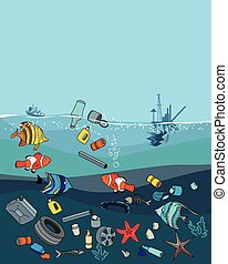 Water pollution in the ocean. Garbage and waste. Fish death....