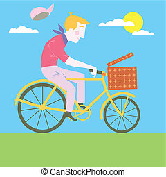 Sweet cartoon old classic bike Illustration Vector