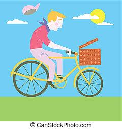 doux, dessin animé, vieux, classique, Vélo