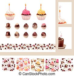 Set with different muffins and sweetmeats Birthday cakes