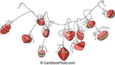 Garland with festive Christmas decorations. - Garland with...