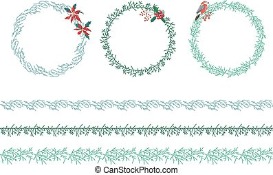 Set of Christmas wreathes isolated on white.
