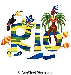 Rio design with objects on white background.