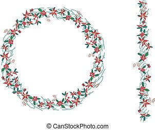 Round Christmas wreath with poinsettia isolated on white. Endless vertical pattern brush.