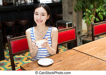 woman with coffee mug - beautiful young girl with cup of...