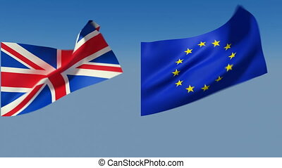 Loopable Great Britain and European Union Flags. Alpha...