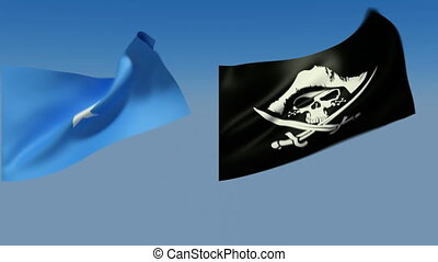 Loopable Somalia and pirates jolly Roger Flags Alpha channel...