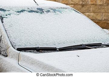 カバーされた, クローズアップ, 雪, 氷, 自動車
