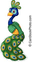 Cute peacock cartoon isolated - Vector illustration of Cute...