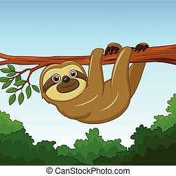 Cartoon happy sloth hanging - Vector illustration of Cartoon...