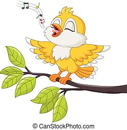 Cute yellow bird singing isolated - Vector illustration of...