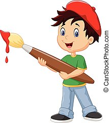 Little boy painting with paintbrush