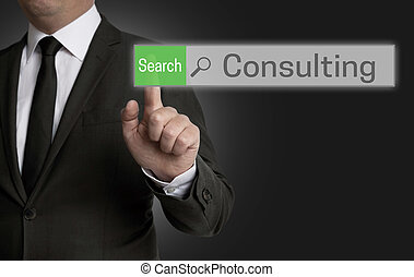 Consulting browser is operated by businessman concept