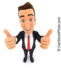 3d businessman thumbs up - 3d businessman with thumbs up,...