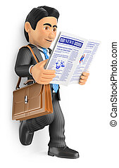 3D Businessman reading the latest news in the newspaper - 3d...