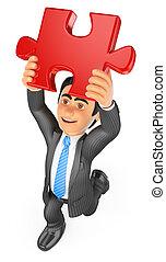 3D Businessman putting a red puzzle piece. Solution - 3d...