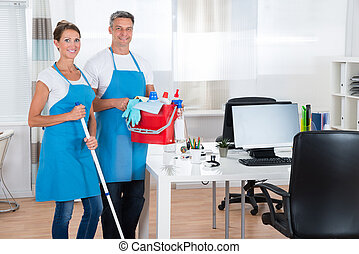 Two Cleaners With Cleaning Equipments - Two Happy Cleaners...