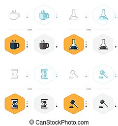 cup, Test tube, Hourglass, Hammer icons - icons 16 ind 1 set