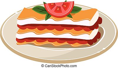 Waffle with Tomato Vector Illustration - Breakfast Waffle...