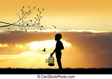 child with bird cage at sunset