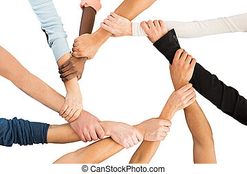 Creative Business People Holding Each Other's Hand Showing...
