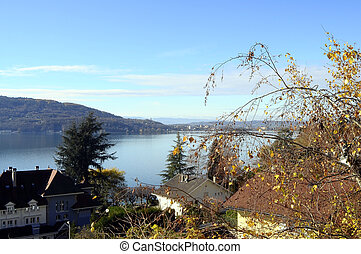 Landscape of Annecy lake in France - View landscape of blue...