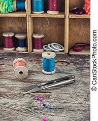 Tools and accessories needlework - Buttons,threads and beads...