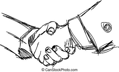 illustration vector doodle hand drawn sketch of handshake between businessman, partnership concept.