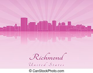 Richmond skyline in purple radiant orchid in editable vector...